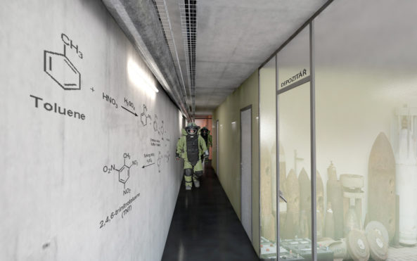 Betonové stěny zdobí chemické vzorce výbušnin.