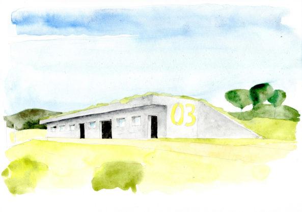 Stavby jsou navrženy jako bunkry zasazené v zeleni.