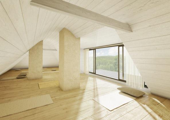 Půda bude využívána pro meditaci s výhledem do přírody.