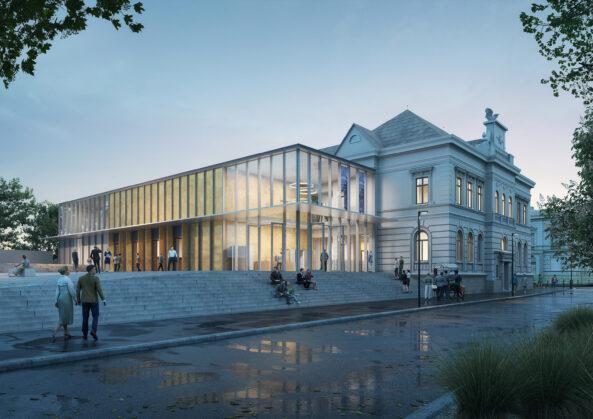 Novostavba svou klidnou architekturou doplňuje stávající budovu.
